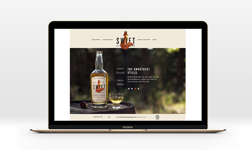 Swift Distillery homepage design by Five and Four