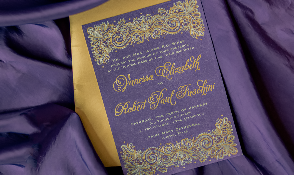 Letterpress Wedding Invitation Design by Five and Four