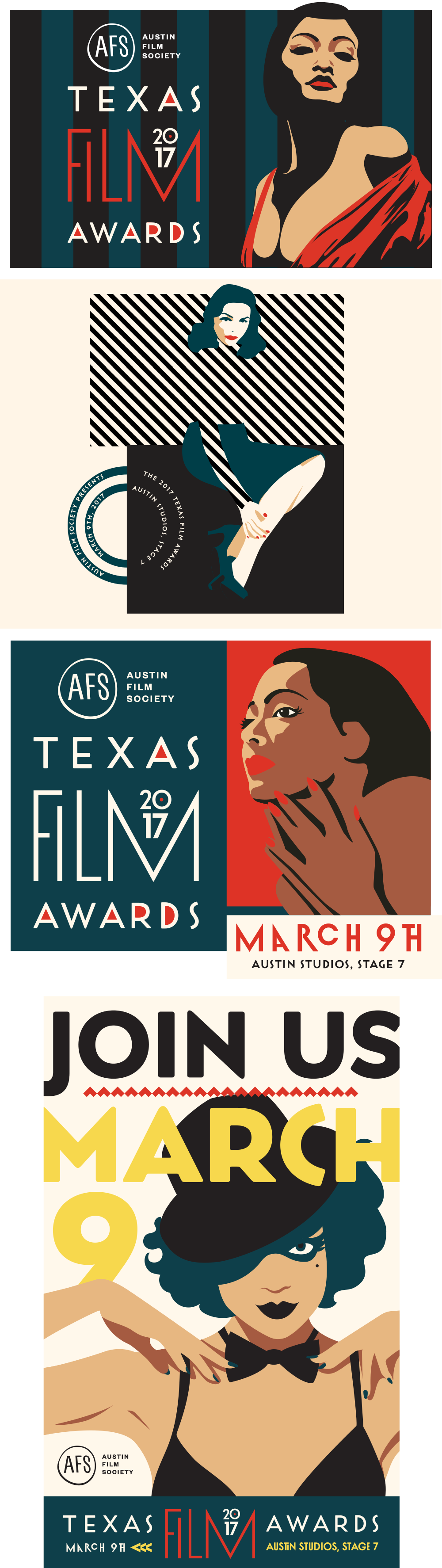 Branding for the Texas Film Awards by Five and Four