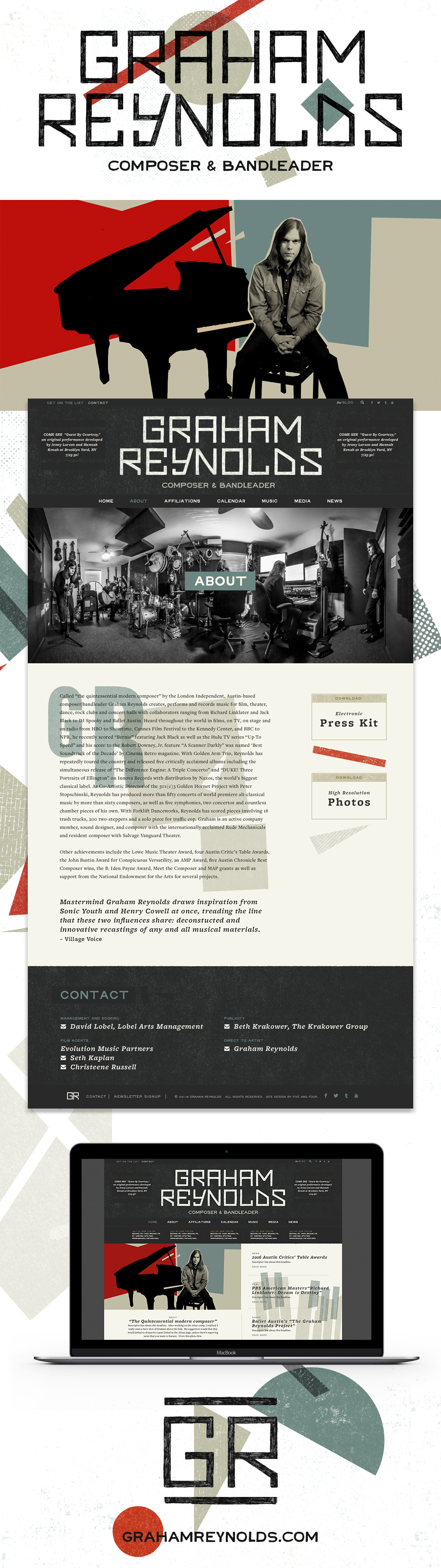Website for Graham Reynolds designed by Five and Four